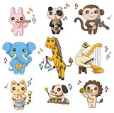 Cartoon animal play music icon. Drawing Royalty Free Stock Image
