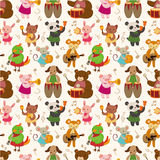 Cartoon Animal Play Music Seamless Pattern Royalty Free Stock Images