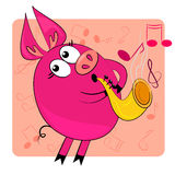Cartoon animal play musical instrument. Cute pig Stock Images
