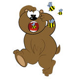 Cartoon animal running from bee.cute bear  Royalty Free Stock Image