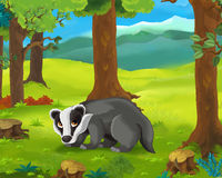 Cartoon animal scene - badger Royalty Free Stock Photos
