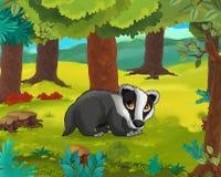 Cartoon animal scene - caricature - badger Stock Image