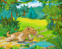 Cartoon animal scene - caricature - lizard Stock Photo
