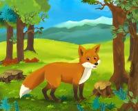 Cartoon animal scene - fox Stock Photo