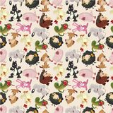 Cartoon animal seamless pattern Royalty Free Stock Photo