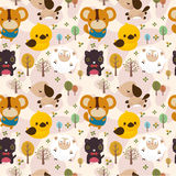 Cartoon animal seamless pattern Royalty Free Stock Images