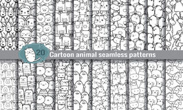 Cartoon animal seamless patterns Royalty Free Stock Image