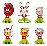 Cartoon animal  set. Cat, dog, monkey, rabbit, mouse, squirrel, pet collection, isolated on white background Royalty Free Stock Images
