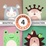 Cartoon animal set - rhino, deer, frog, hedgehog vector illustration