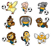Cartoon animal soccer player icon Stock Photo