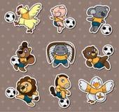 Cartoon animal soccer player stickers stock illustration