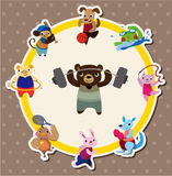 Cartoon animal sport card Stock Images