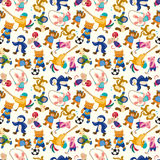 Cartoon animal sport player seamless pattern Stock Images