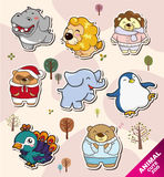 Cartoon animal Stickers icons Stock Photo