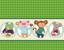 Cartoon animal tea time card Stock Photography