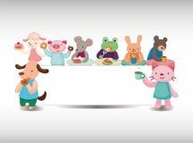 Cartoon animal tea time card stock illustration