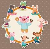 Cartoon animal tea time card Stock Photo