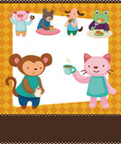 Cartoon animal tea time card Stock Images