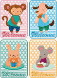 Cartoon animal tea time card Stock Photography