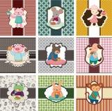 Cartoon animal tea time card Stock Photos