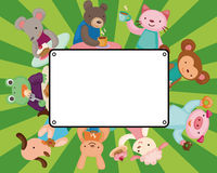 Cartoon animal tea time card Stock Photos