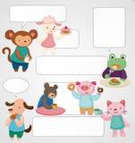 Cartoon animal tea time card Stock Image
