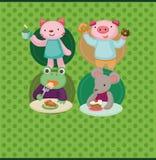 Cartoon animal tea time card Royalty Free Stock Photo