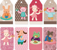 Cartoon animal tea time card Royalty Free Stock Images
