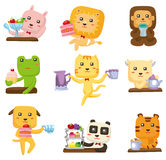 Cartoon animal tea time icon Stock Photo