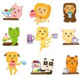 Cartoon animal tea time icon Stock Photo