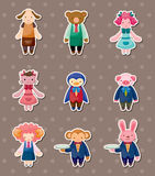 Cartoon animal waiter and waitress stickers Stock Photography