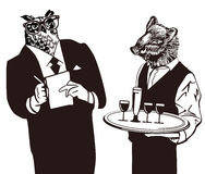 Cartoon animal waiters Stock Photography