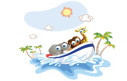 Cartoon animal was a boat ride on the beach Stock Photography