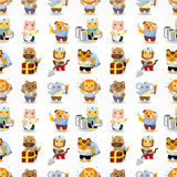 Cartoon animal worker seamless pattern Royalty Free Stock Photos