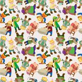 Cartoon animal worker seamless pattern Stock Image