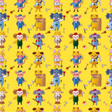 Cartoon animal worker  seamless pattern Stock Photos