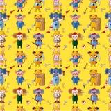 Cartoon animal worker  seamless pattern Stock Photos