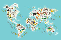 Cartoon animal world map for children and kids, Animals from all over the world, white continents and islands on blue Royalty Free Stock Images
