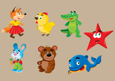 Cartoon animals. Vector illustration of cartoon colored animals Royalty Free Stock Image