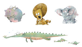 Cartoon Animals of Africa (with clipping paths) Stock Photos