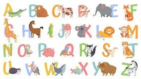 Free Cartoon Animals Alphabet For Kids. Learn Letters With Funny Animal, Zoo ABC And English Alphabet For Kids Vector Royalty Free Stock Images - 164126309
