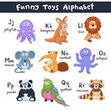 Cartoon animals alphabet. Funny animals alphabet. Cute cartoon animals with latin letters  on white background. Plush toys collection. Vector illustration of Royalty Free Stock Photos