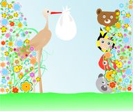 Cartoon animals and baby viewing stork with bag Stock Photo