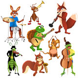 Cartoon animals band. Cartoon animals playing different instruments Stock Photos
