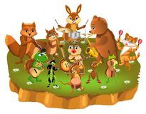 Cartoon animals band playing different instruments. Cartoon animals band with bear, fox, squirrel, rabbit, cat, owl, turtle, mouse, frog, grasshopper and ant Royalty Free Stock Photos