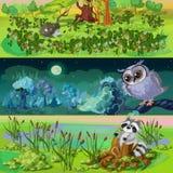 Cartoon Animals Banners Set vector illustration