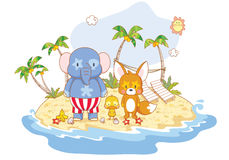 Cartoon animals on the beach Stock Photography