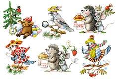 Cartoon animals and birds. Set of hand drawn cartoon animals and birds: hedgehog, mouse, jay Stock Photography