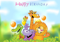 Cartoon animals, Birthday greeting card Royalty Free Stock Images