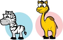 Cartoon animals - camel and zebra,vector Royalty Free Stock Images
